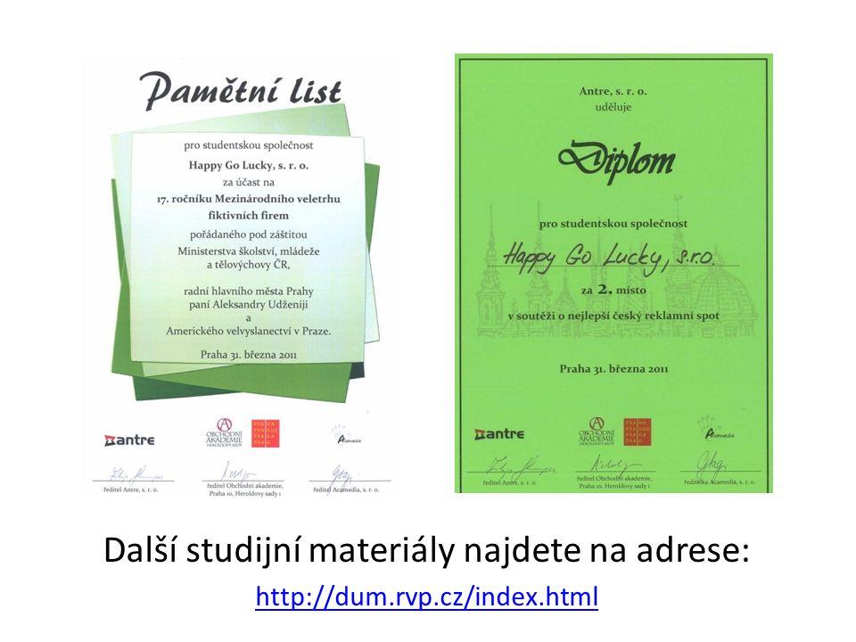 Další studijní materiály najdete na adrese: