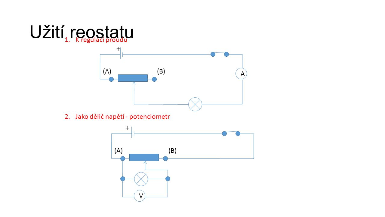 Užití reostatu K regulaci proudu + (A) (B) A