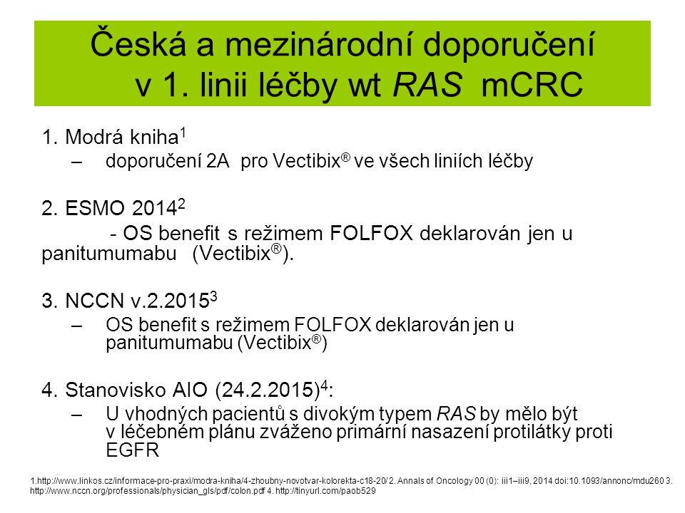 Česká a mezinárodní doporučení v 1. linii léčby wt RAS mCRC
