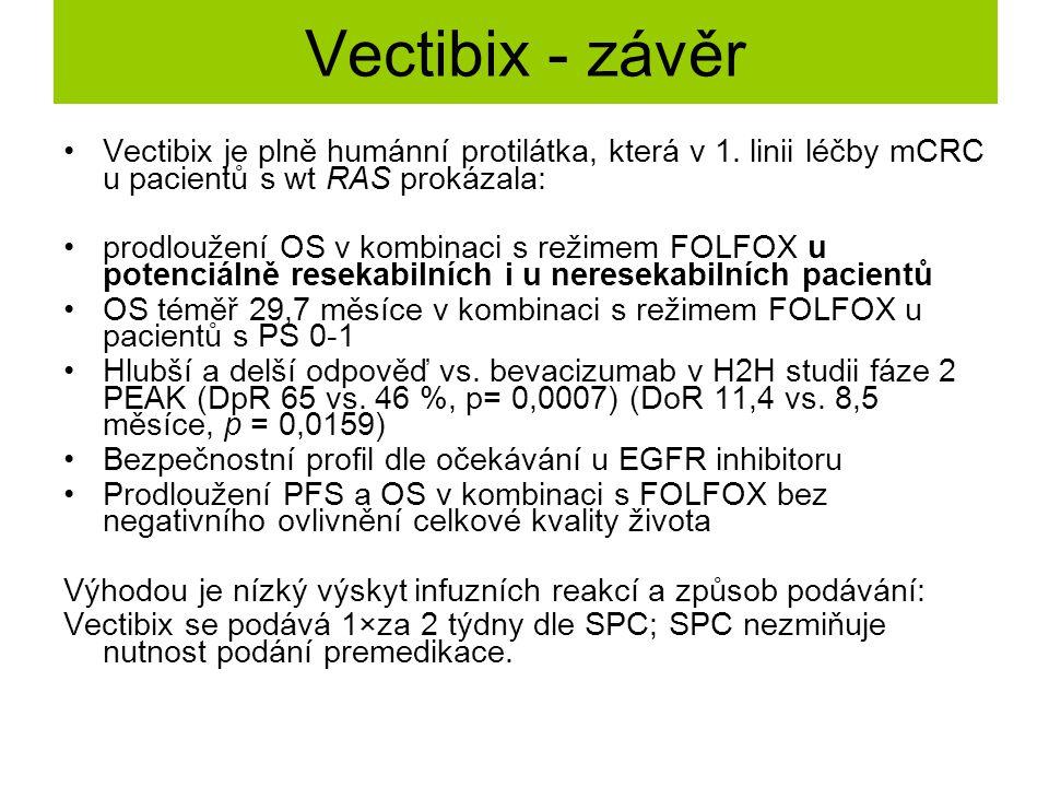 Vectibix - závěr Vectibix je plně humánní protilátka, která v 1. linii léčby mCRC u pacientů s wt RAS prokázala: