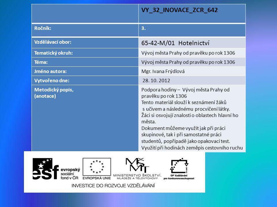 VY_32_INOVACE_ZCR_642 65-42-M/01 Hotelnictví Ročník: 3.