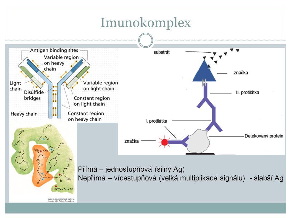 Imunokomplex Přímá – jednostupňová (silný Ag)