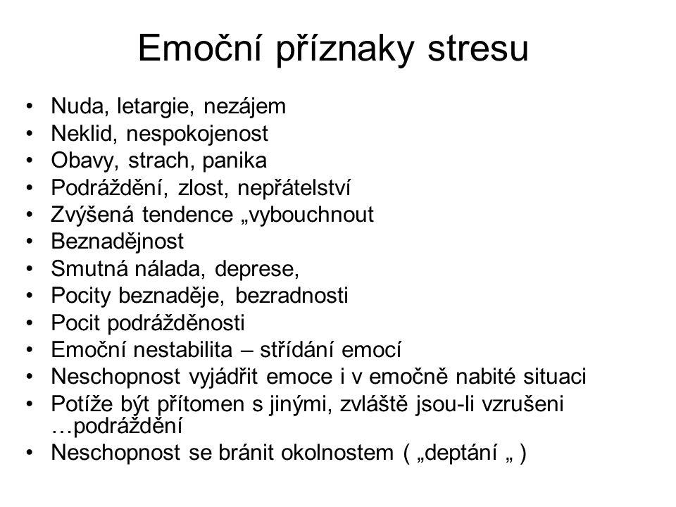 Emoční příznaky stresu
