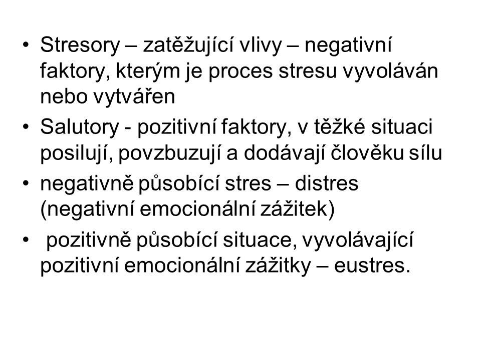 Stresory – zatěžující vlivy – negativní faktory, kterým je proces stresu vyvoláván nebo vytvářen