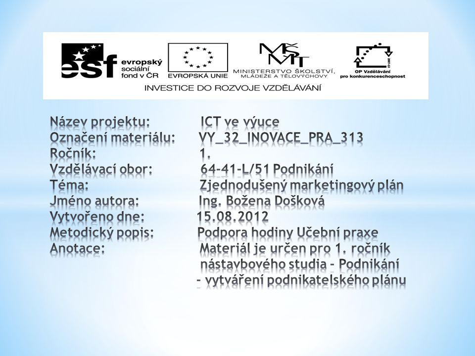 Název projektu: ICT ve výuce Označení materiálu: VY_32_INOVACE_PRA_313 Ročník: 1.