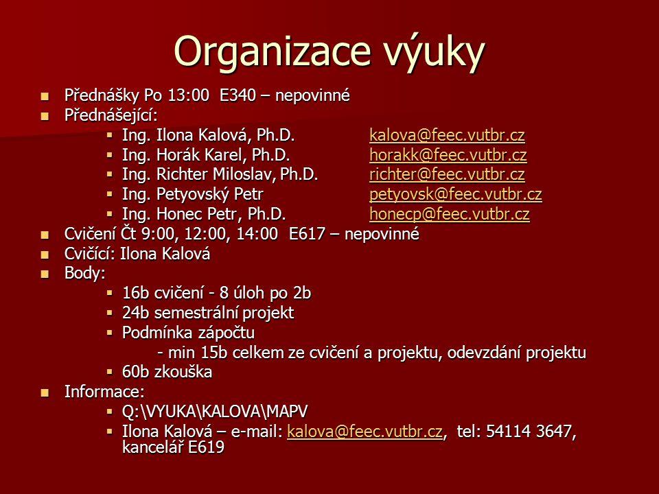 Organizace výuky Přednášky Po 13:00 E340 – nepovinné Přednášející: