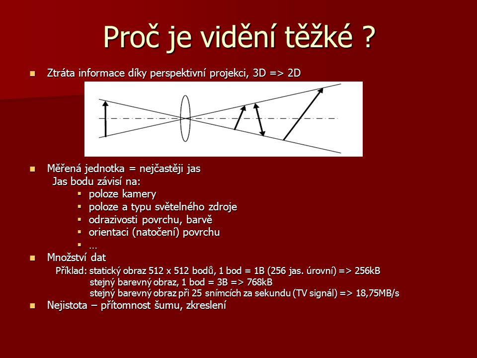Proč je vidění těžké Ztráta informace díky perspektivní projekci, 3D => 2D. Měřená jednotka = nejčastěji jas.