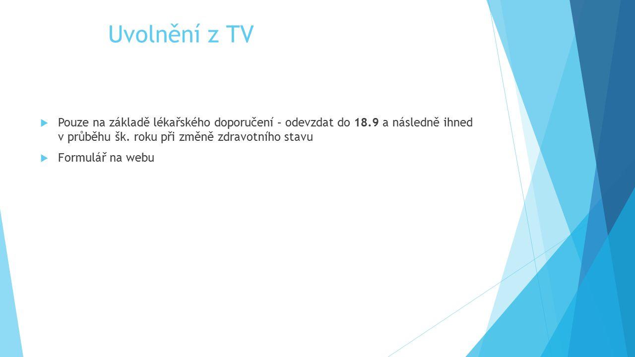 Uvolnění z TV Pouze na základě lékařského doporučení – odevzdat do 18.9 a následně ihned v průběhu šk. roku při změně zdravotního stavu.
