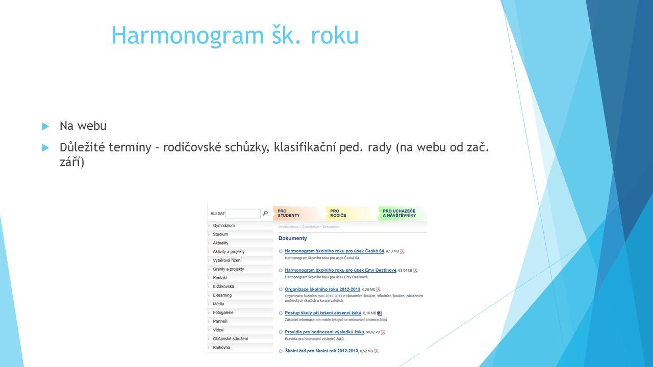 Harmonogram šk. roku Na webu