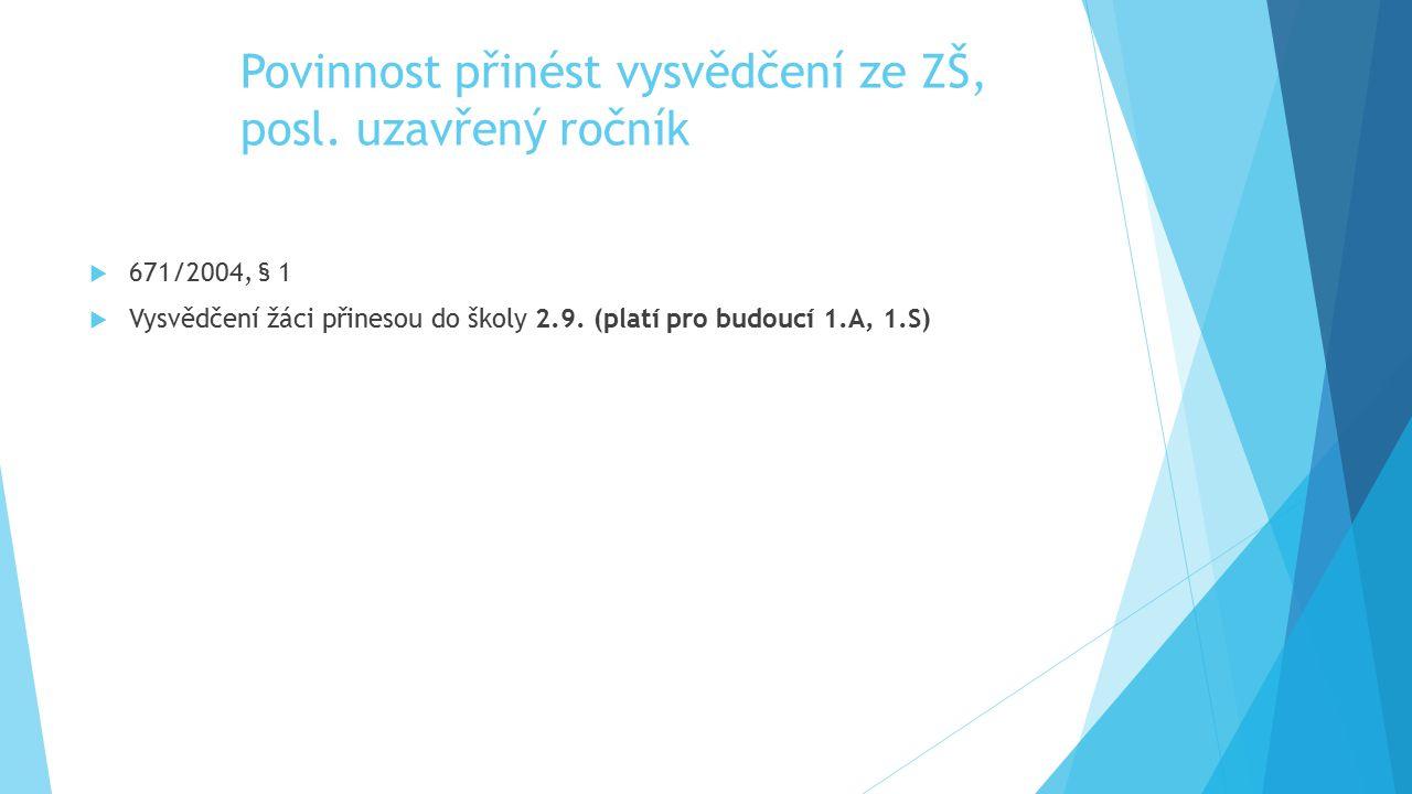 Povinnost přinést vysvědčení ze ZŠ, posl. uzavřený ročník