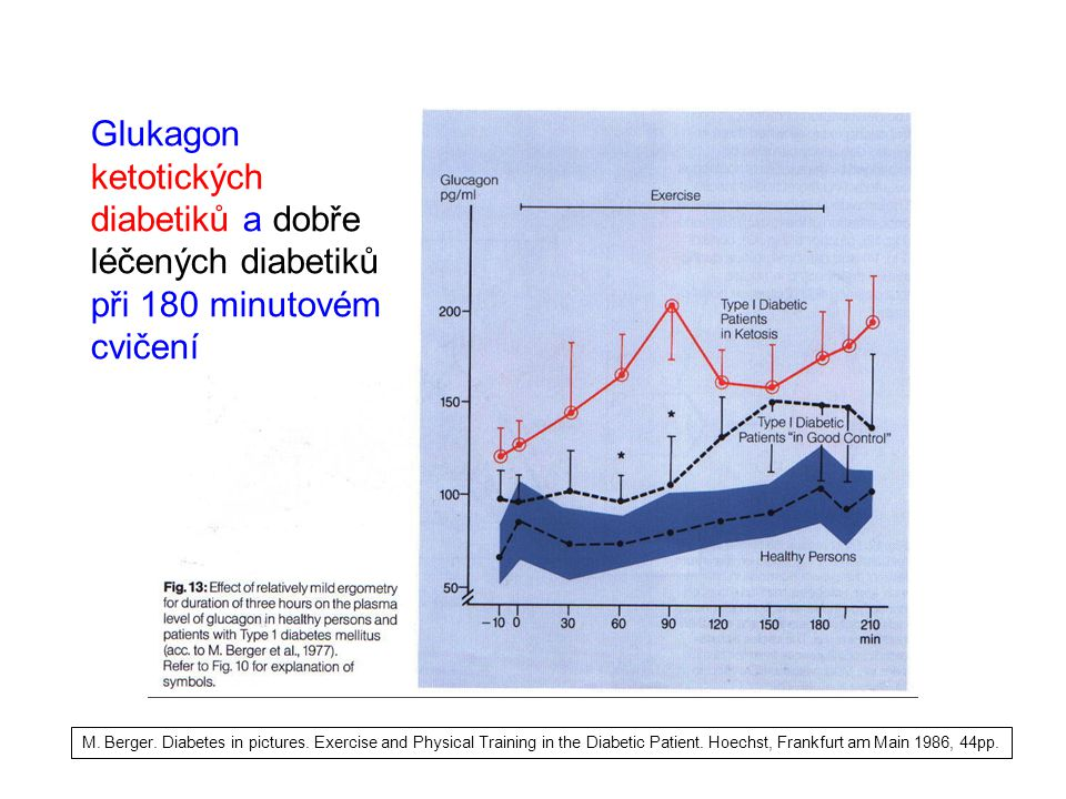 Glukagon ketotických diabetiků a dobře léčených diabetiků při 180 minutovém cvičení