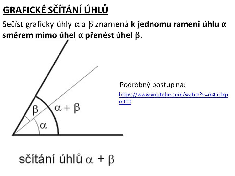 GRAFICKÉ SČÍTÁNÍ ÚHLŮ Sečíst graficky úhly α a β znamená k jednomu rameni úhlu α směrem mimo úhel α přenést úhel β.