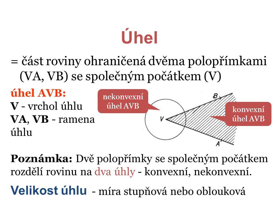 Úhel = část roviny ohraničená dvěma polopřímkami (VA, VB) se společným počátkem (V) úhel AVB: V - vrchol úhlu.