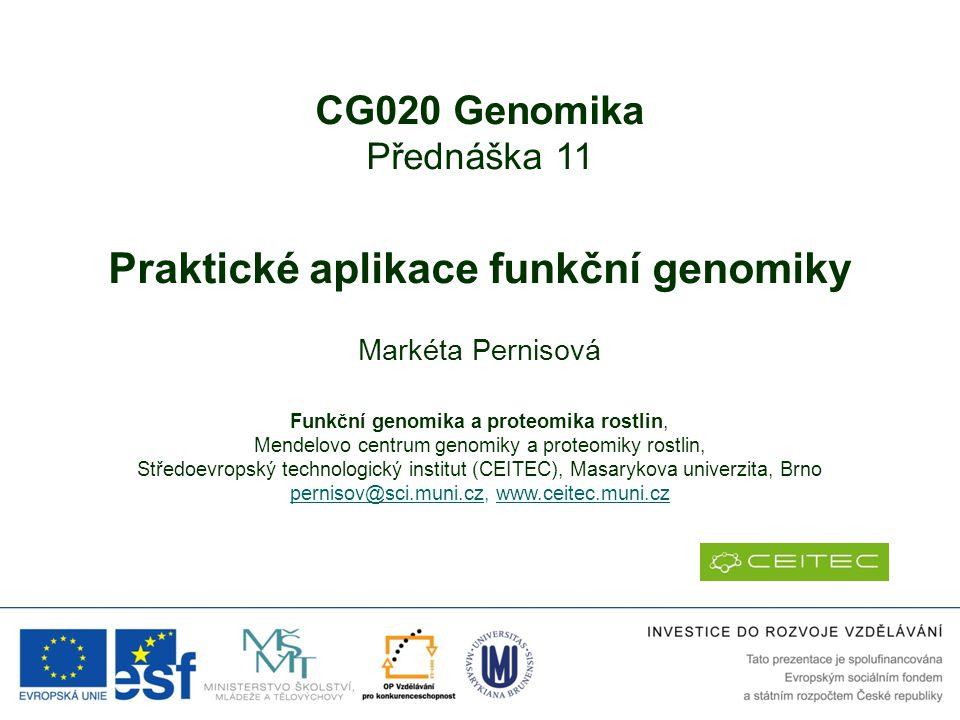 Praktické aplikace funkční genomiky
