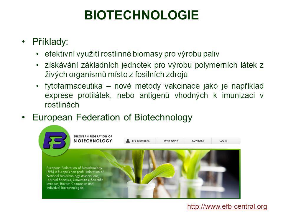 BIOTECHNOLOGIE Příklady: European Federation of Biotechnology