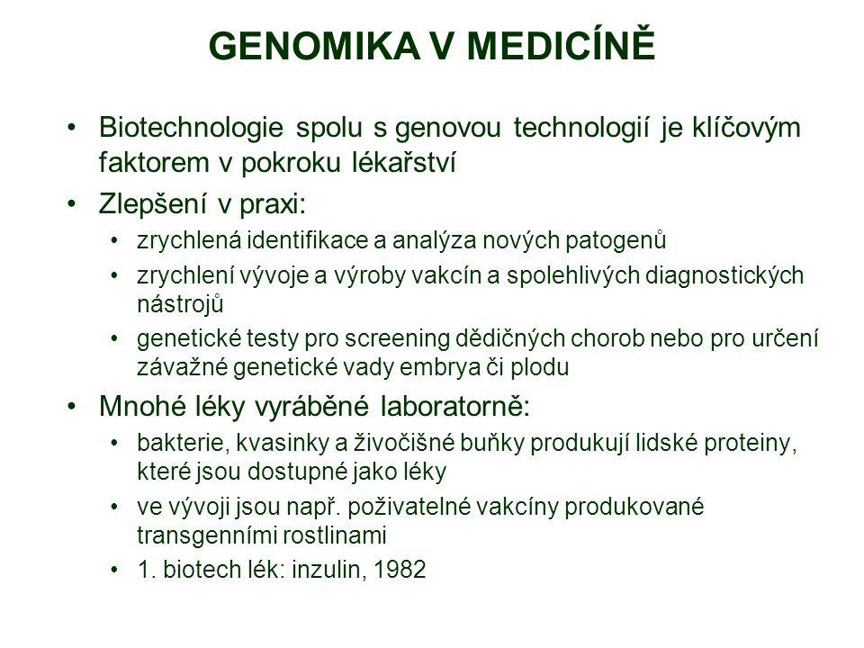 GENOMIKA V MEDICÍNĚ Biotechnologie spolu s genovou technologií je klíčovým faktorem v pokroku lékařství.
