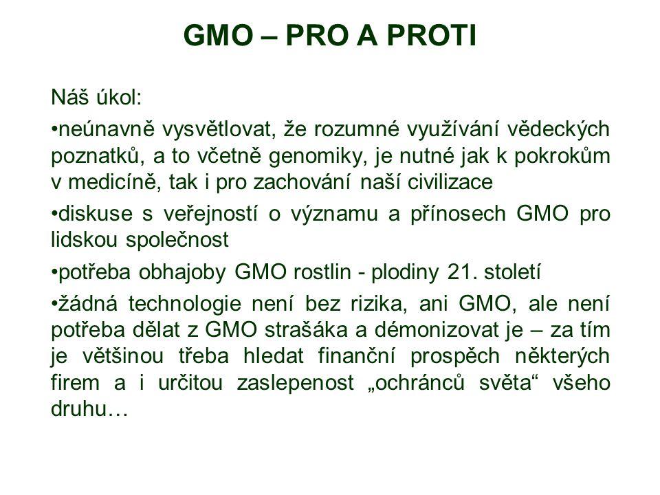 GMO – PRO A PROTI Náš úkol: