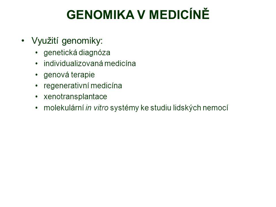 GENOMIKA V MEDICÍNĚ Využití genomiky: genetická diagnóza