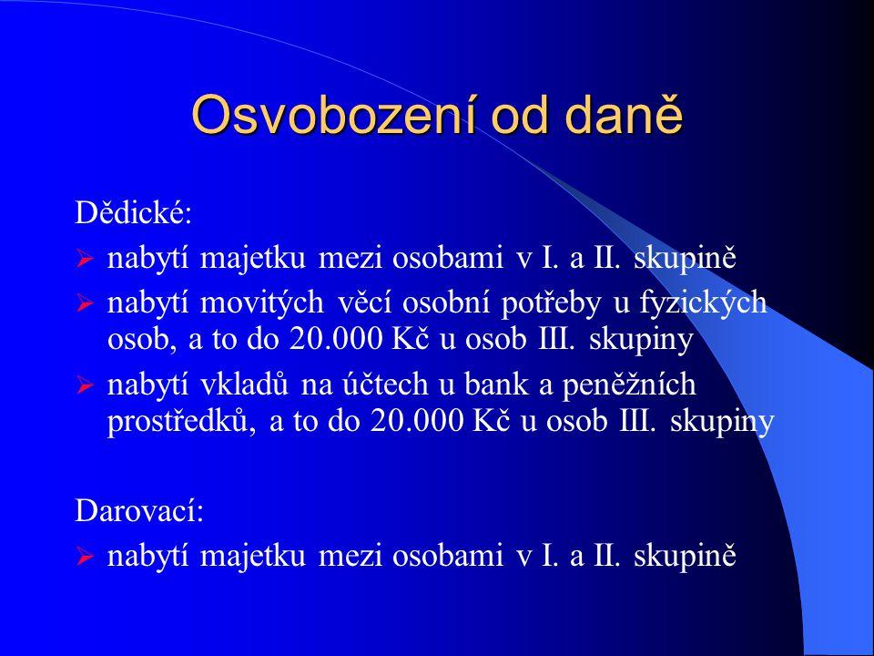 Osvobození od daně Dědické: