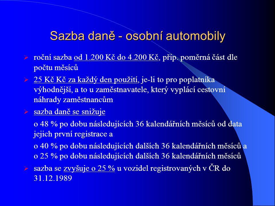 Sazba daně - osobní automobily