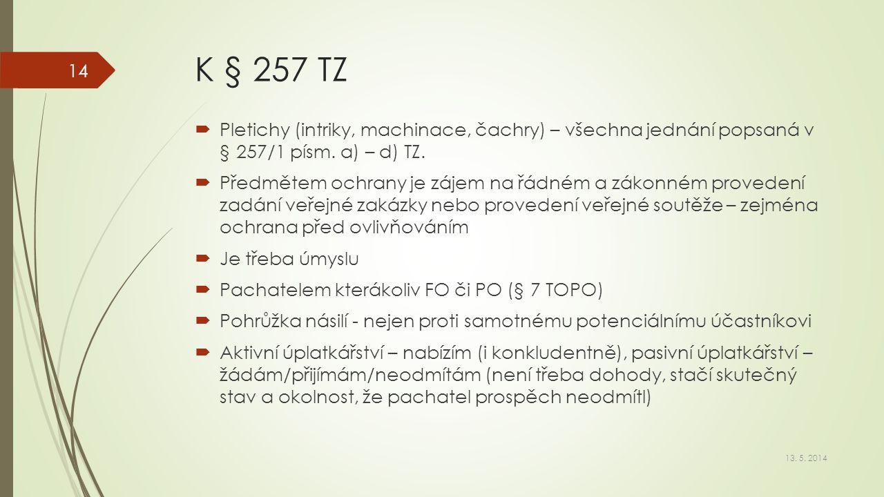 K § 257 TZ Pletichy (intriky, machinace, čachry) – všechna jednání popsaná v § 257/1 písm. a) – d) TZ.
