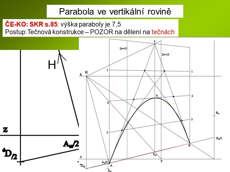 Parabola ve vertikální rovině