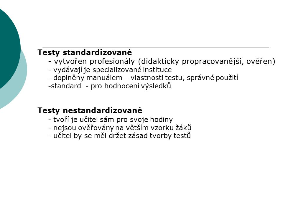 Testy standardizované