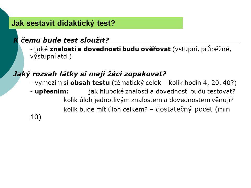Jak sestavit didaktický test