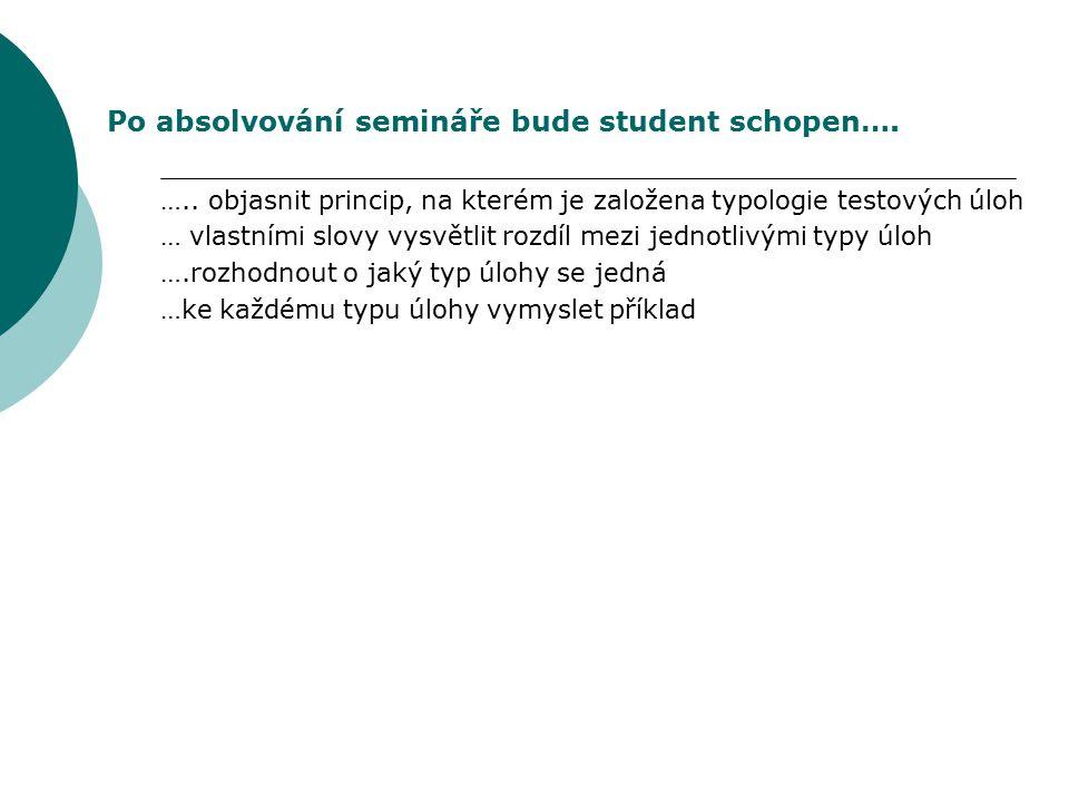 Po absolvování semináře bude student schopen….