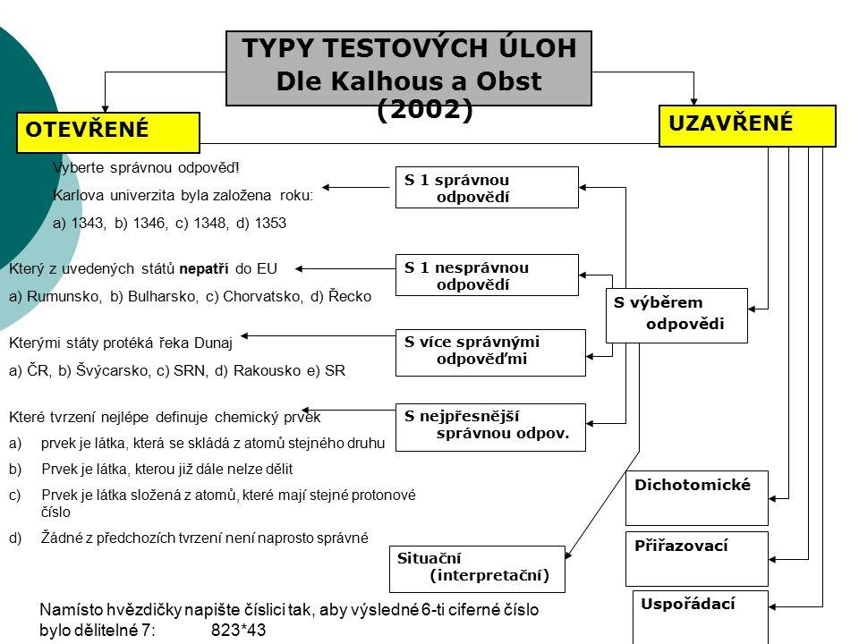 TYPY TESTOVÝCH ÚLOH Dle Kalhous a Obst (2002)