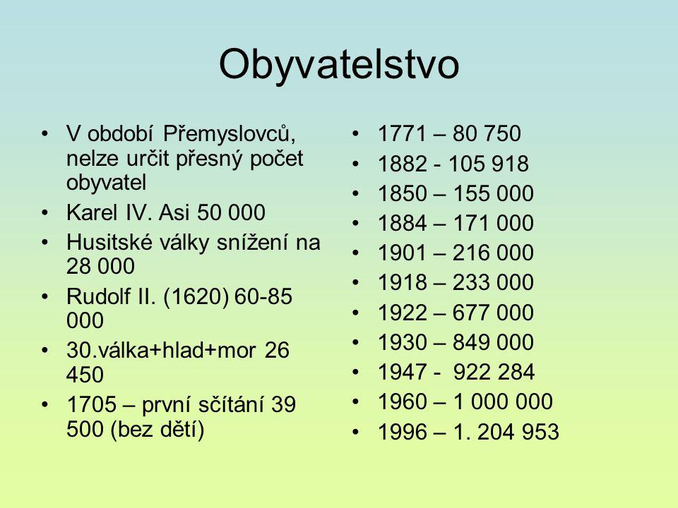 Obyvatelstvo V období Přemyslovců, nelze určit přesný počet obyvatel