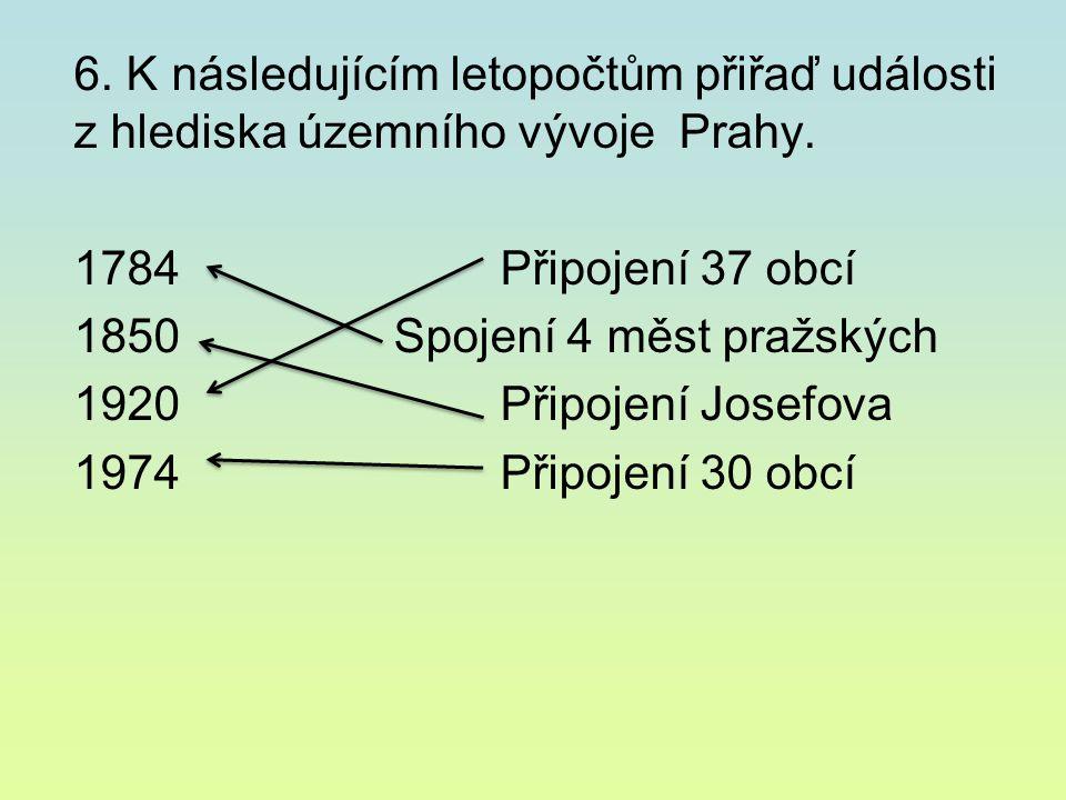 6. K následujícím letopočtům přiřaď události z hlediska územního vývoje Prahy.