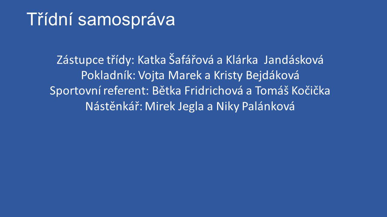 Třídní samospráva Zástupce třídy: Katka Šafářová a Klárka Jandásková