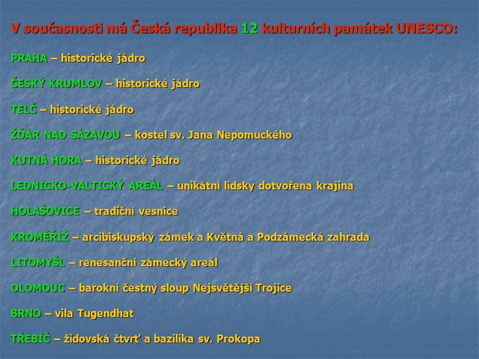 V současnosti má Česká republika 12 kulturních památek UNESCO: PRAHA – historické jádro ČESKÝ KRUMLOV – historické jádro TELČ – historické jádro ŽĎÁR NAD SÁZAVOU – kostel sv.