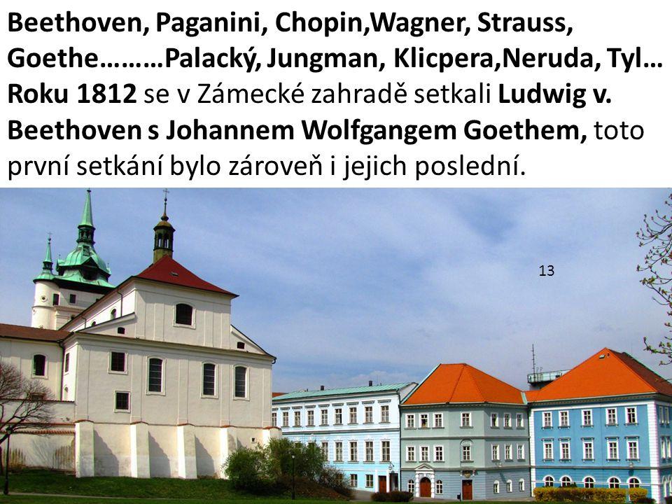 Beethoven, Paganini, Chopin,Wagner, Strauss, Goethe………Palacký, Jungman, Klicpera,Neruda, Tyl…