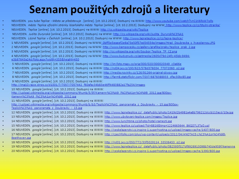 Seznam použitých zdrojů a literatury