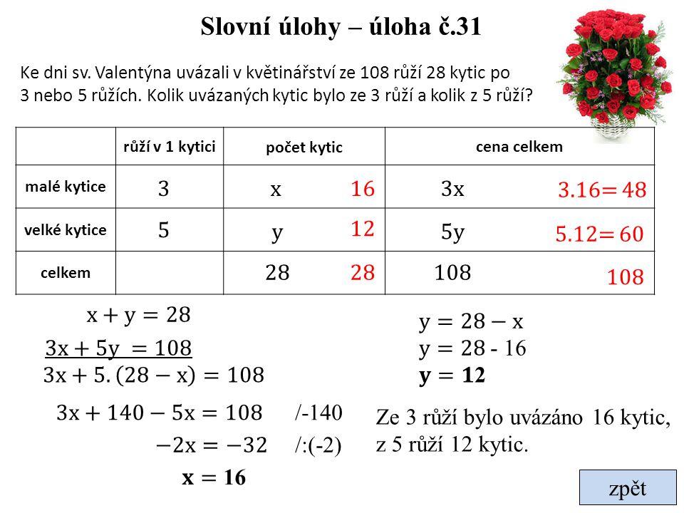 Slovní úlohy – úloha č.31 3 x 16 3x 3.16= 48 5 y 12 5y 5.12= 60 28 28