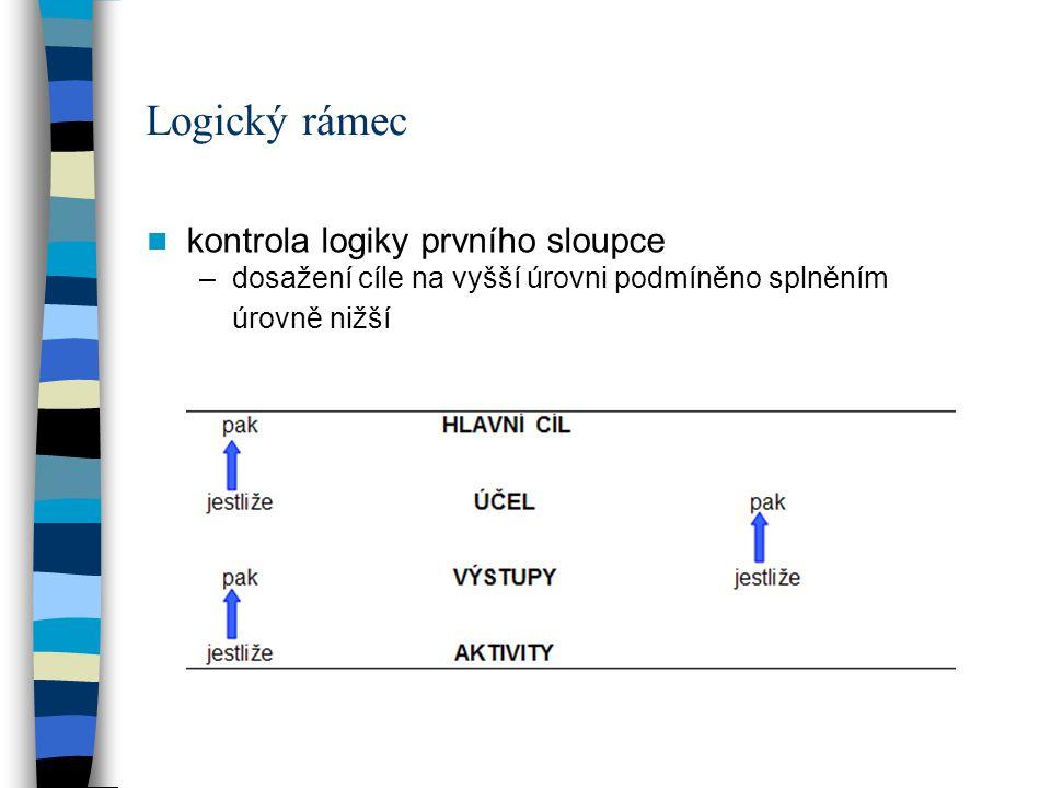 Logický rámec kontrola logiky prvního sloupce