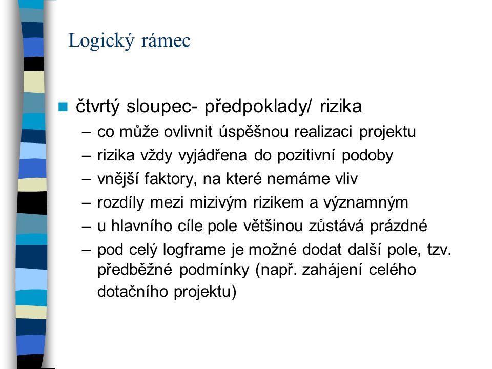 Logický rámec čtvrtý sloupec- předpoklady/ rizika