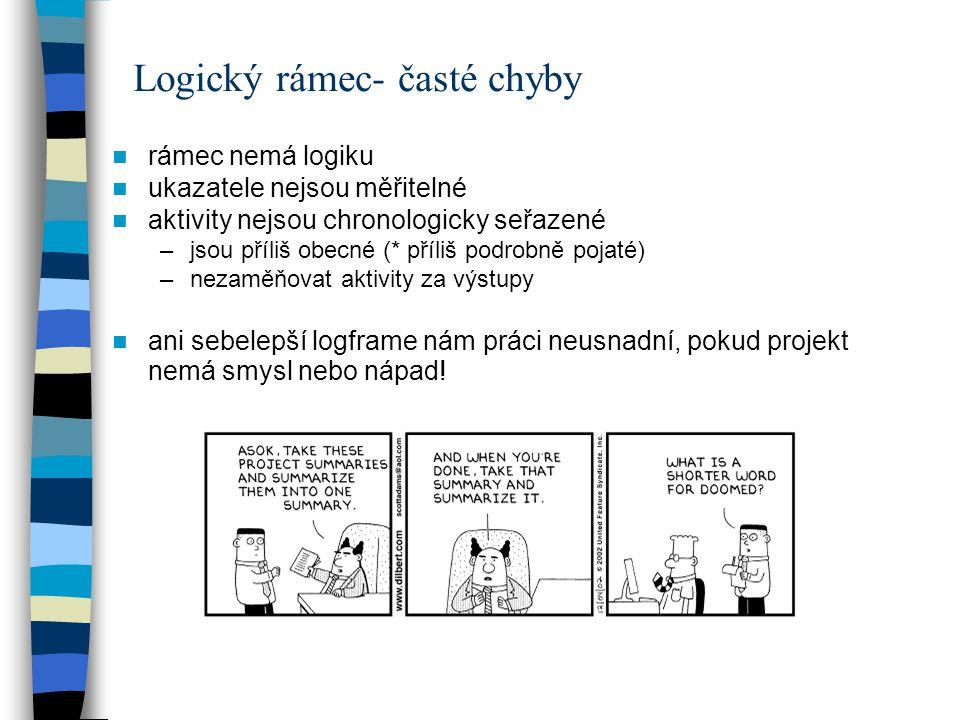 Logický rámec- časté chyby