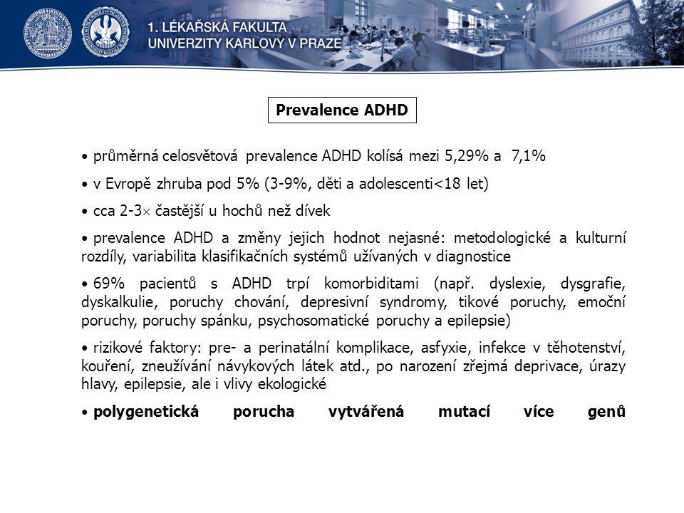 Prevalence ADHD průměrná celosvětová prevalence ADHD kolísá mezi 5,29% a 7,1% v Evropě zhruba pod 5% (3-9%, děti a adolescenti<18 let)