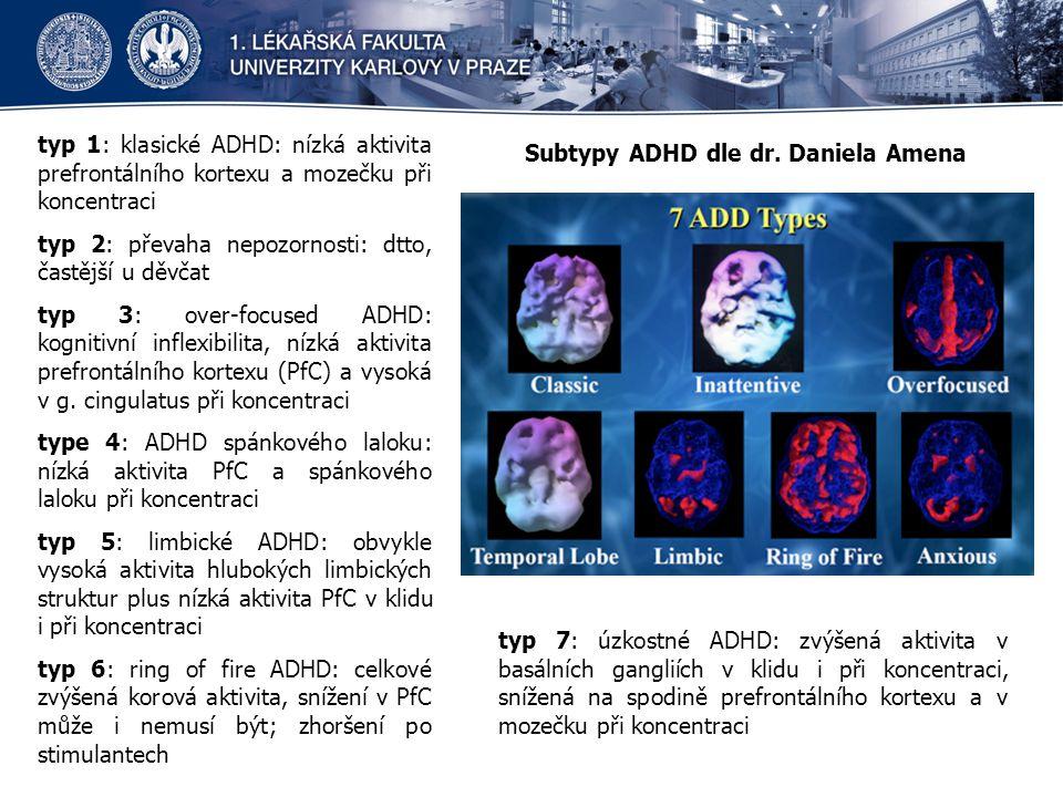 typ 1: klasické ADHD: nízká aktivita prefrontálního kortexu a mozečku při koncentraci