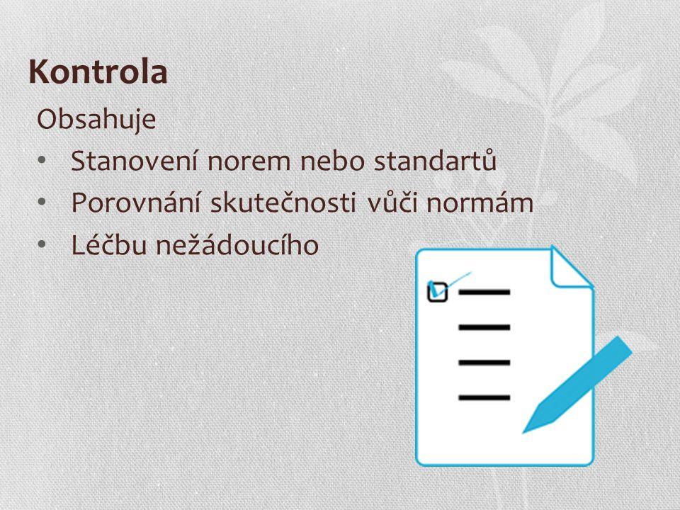 Kontrola Obsahuje Stanovení norem nebo standartů