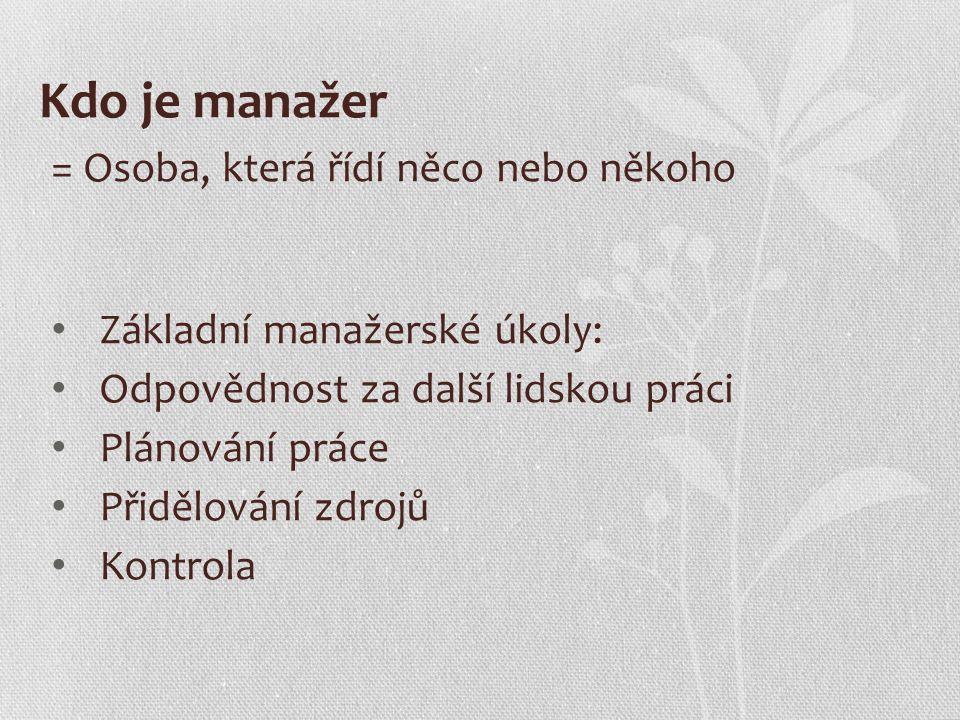 Kdo je manažer = Osoba, která řídí něco nebo někoho