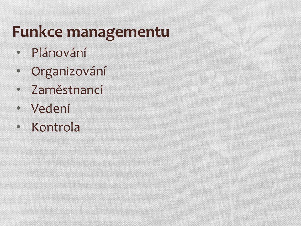 Funkce managementu Plánování Organizování Zaměstnanci Vedení Kontrola