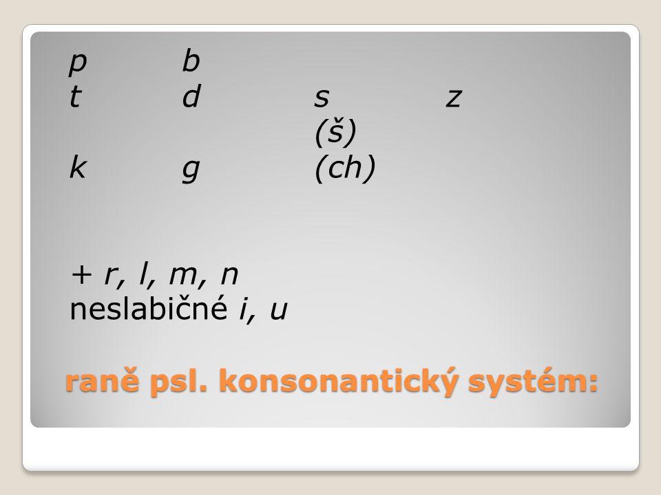 raně psl. konsonantický systém:
