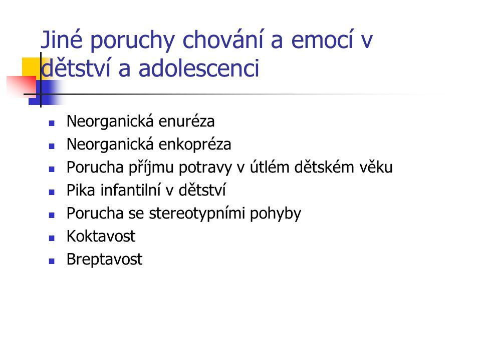 Jiné poruchy chování a emocí v dětství a adolescenci