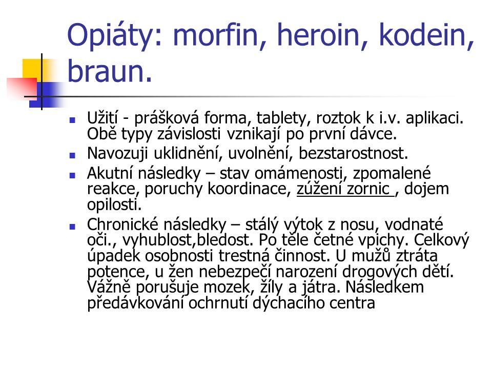 Opiáty: morfin, heroin, kodein, braun.