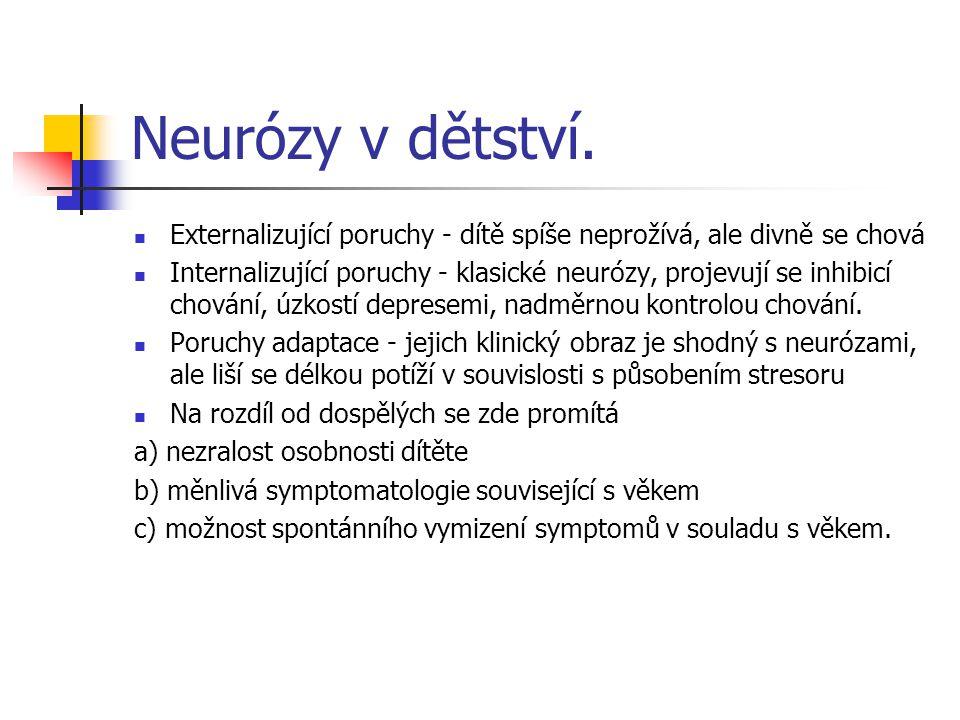 Neurózy v dětství. Externalizující poruchy - dítě spíše neprožívá, ale divně se chová.