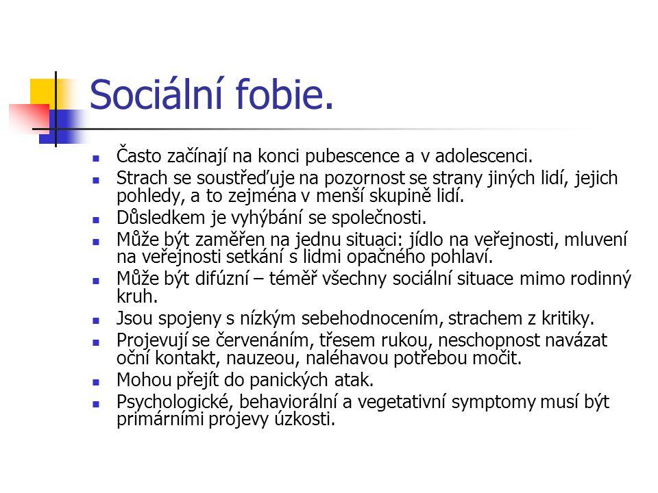 Sociální fobie. Často začínají na konci pubescence a v adolescenci.